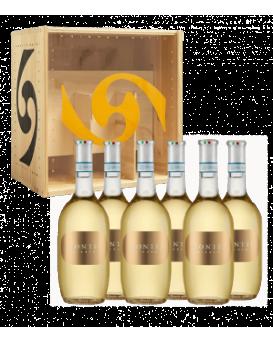 Пакет 6 бутилки Монтей Бианко от Вила Спарина с дървена кутия